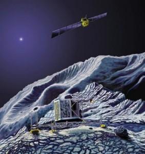 Immagine artistica dell'orbiter  e del modulo Philae, atterrato sulla cometa